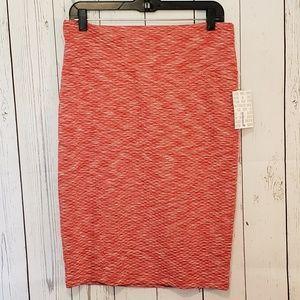 Lularoe Marled Coral Cassie Pencil Skirt NWT L